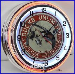 18 Vintage DUCKS UNLIMITED Sign Double Neon Wall Clock Mallard Hunting Cabin