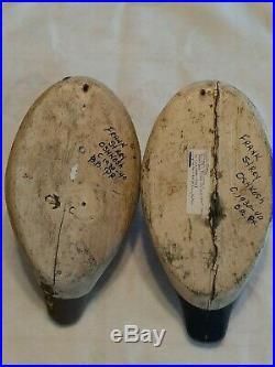 1930s-40s Frank Strey pair of Bluebills decoys from Wisconsin 1890-1966