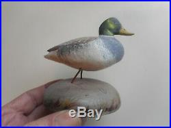 4 hand carved and painted Miniature Duck Carvings. Signed & dated 1961-62