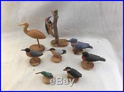 (8) Great Vint. Signed K. W. Burt Carved Wood Bird Decoys Hummingbird Egret Robin