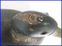 Antique Duck Decoy Turned Head Big Body Original Paint Weighted