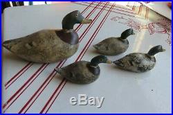 Antique Duck Mini Decoys (4) Herman Wendt Sheboygan Wi Wisconsin Mallard Drakes