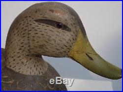 Antique Large Hand Carved Blackduck wooden Duck Decoy