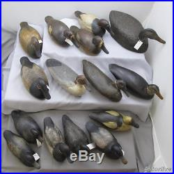 Antique Old Duck Hunting Decoy Collection Wooden Carved Decoys 15 Pc Lot #L1