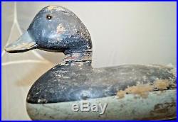 Antique Vintage Delaware River Bluebill Drake Wood Carved Hunting Duck Decoy