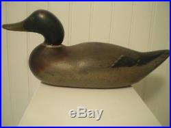 Antique-Vintage-Factory-Mason-Snakey Head Mallard-Wood Duck Decoy Original Paint