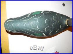 Antique Vintage Wooden Mason Black Duck Decoy Super Original Paint
