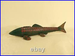 Antique Wooden Metal Painted Fish Decoy Lure MI Old Hand Made Ice Fishing Spear