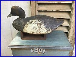 Antique vintage old wooden working Early Long Island Bluebill duck decoy
