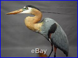 Beautiful Blue Heron Decoy Carving by Cork McGee, Chincoteague VA Signed 1991