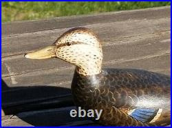 Black duck miniature duck decoy Hand Carved SIGNED folk art