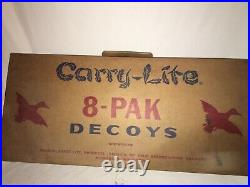 CARRY LITE DUCK DECOYS SET OF 8 OLD STOCK BOXED VINTAGE Paper Mache