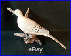 Carved Hunting Duck Dove Decoy on Driftwood Signed Eddie Wozny Cambridge MD