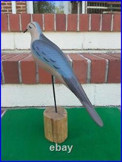 Carved Wooden Dove or Pigeon Decoy Bird Duck Signed Capt Harry Jobes