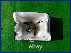 Carved Wooden Miniature Goose Duck Decoy Pin Brooch Signed Tuts Lawson Crisfield