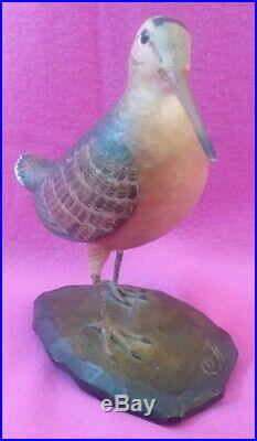 Carved Wooden Woodcock Bird Hunting Duck Decoy Signed by Frank Finney