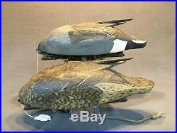 Clint Wells, Fort Worth TX Pintail pair feeder decoys branded C. WELLS 1929