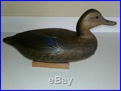 Darkfeather Freedman Black Duck Drake Decoy Wood
