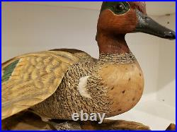 Duck Hand Carved Green Winged Drake Vintage