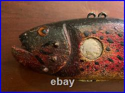 Duluth fishing Decoy 12 Rainbow Trout 2 Coin Carved Decoy