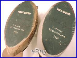 Early Pair Of Charlie Joiner Mini Mallards 1961 Decoy