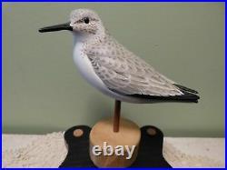 Exquisite Sandpiper Shorebird Carved Wooden Bird Duck Decoy By Manfred Scheel