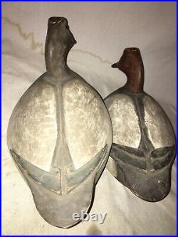 FRANK CUMMINGS Vintage Canvasback Duck Decoy Pair Harsens Island
