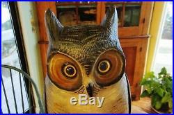 Fine Carving Life Size Great Horned Owl Decoy M Borrett