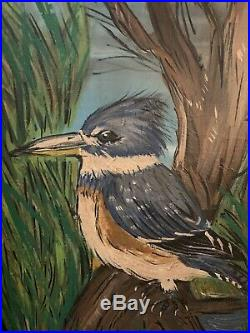 Framed Kingfisher Oil Painting by Zack Ward, Crisfield, MD Shorebird Decoy