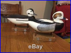 Frederick Rick Brown Pair Of Gorgeous Oldsquaw Duck Decoy 1998 Signed Dated Vtg