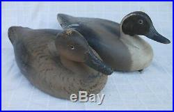 Good Pair Vintage Wildfowler Carved & Painted Pintail Duck Decoys