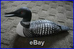 Gorgeous Hand Carved Loon Wood decoy Full Size 1988 Dennis Bartz