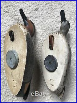 Grayson Chesser Hand Carved Green-winged Teal Pair Duck Decoy Chincoteague Sign