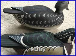 Grayson Chesser Hand Carved Wood Duck Decoy Pair Chincoteague Va Mint Signed