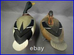 Great Pair of Hollow Body Mallard Duck Decoys by Frederick Rick Brown NJ