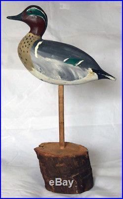 Green-winged Teal Drake Wooden Duck Field Decoy by William (Bill) Goenne