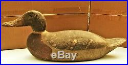 Hand Painted Wooden Duck Decoy 2 Part w Glass Eyes Weighted Benz Wood Products