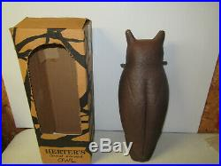 Herters Mint In Box Vintage Great Horned Owl Decoy
