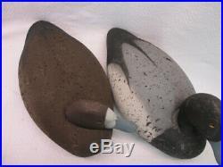 LL Bean Duck Decoy Blue Bill Drake Hen Pair Vintage Cork Wood Glass Eyes
