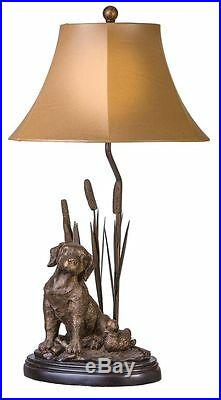 Labrador Dog Decoy Duck & Cattail Table Lamp Hunting Lab Retriever Rustic Light
