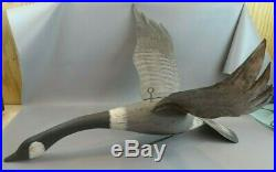 Large F & S Flying GOOSE Decoy Made From Cedar Telephone Poles FOLK ART