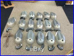 Lot Of 16 Vintage Canadian Goose Shell Decoys Compressed Cardboard Body Geese