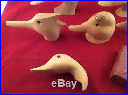 Lot Of Vintage Wooden Carved Duck Decoy Heads & Glass Eyes Barn Find