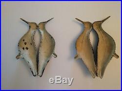 Lot of 2 Vintage Fold-Out Tin YELLOWLEG Shorebirds Decoys Primitive Folk Art