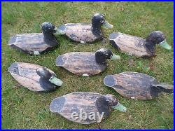 Lot of 7 Antique Vintage Wood Duck Decoy Primitive Cabin Hunting Outdoor Decor