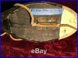 Maine eider duck decoy, original paint, rigging, ties, solid construction, sound