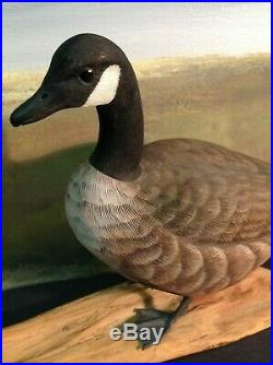 Miniature ROBERT RUNION Hand Carved Wood CANADA GOOSE Duck Decoy Signed