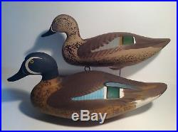 Nice! CAPTAIN HARRY JOBES Drake & Hen Blue-Winged Teal, signed'78 Duck Decoys