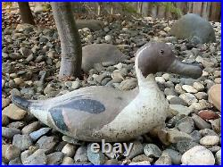 Old Antique Canvas Duck Decoy 15 1/2 inch Hand Painted with Lead on Bottom Vintage