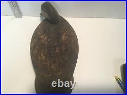 Outstanding Quality Vintage Black Duck Cork Wood Duck Decoy Pk Hilliard